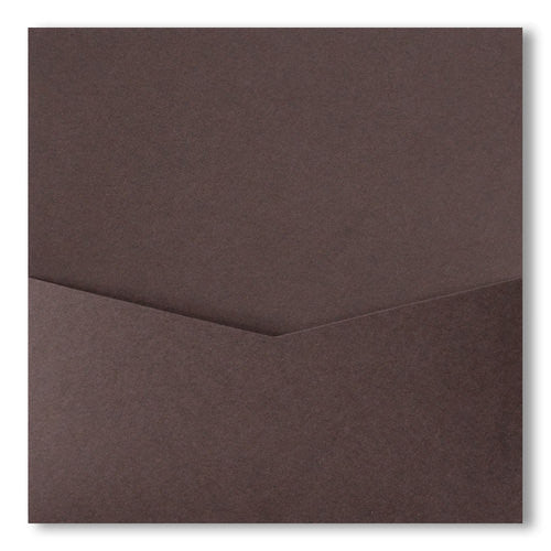 Chocolate Brown Solid Pocket Invitation Card, 6 1/4 Denali