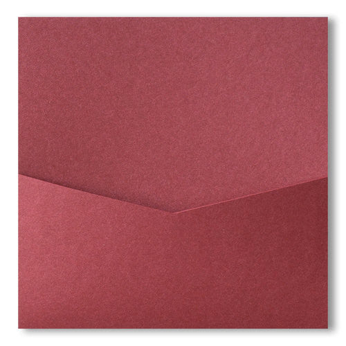 Crimson Red Metallic Pocket Invitation Card, 6 1/4 Denali