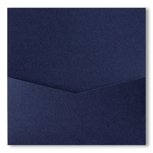 Dark Blue Metallic Pocket Invitation Card, 6 1/4 Denali