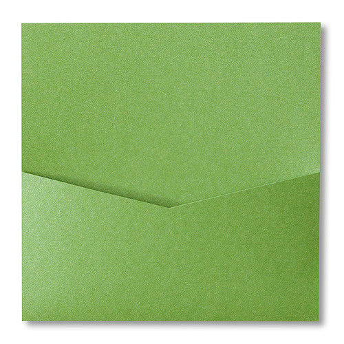 Green Fairway Metallic Pocket Invitation Card, 6 1/4 Denali