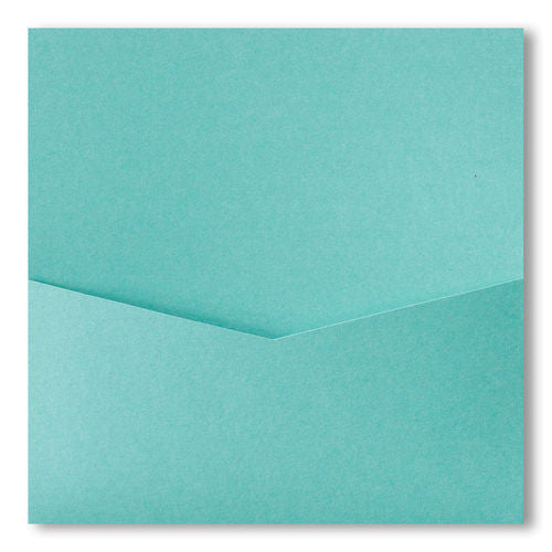 Aqua Lagoon Metallic Pocket Invitation Card, 6 1/4 Denali - Paperandmore.com