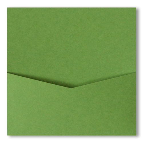 Meadow Green Solid Pocket Invitation Card, 6 1/4 Denali - Paperandmore.com