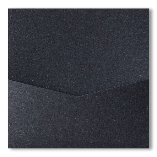 Onyx Black Metallic Pocket Invitation Card, 6 1/4 Denali - Paperandmore.com