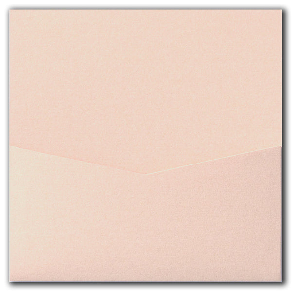 Peach (Coral) Metallic Pocket Invitation Card, 6 1/4 Denali