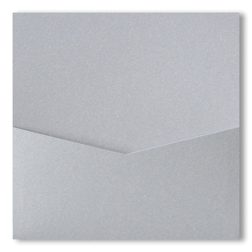 Silver Metallic Pocket Invitation Card, 6 1/4 Denali - Paperandmore.com
