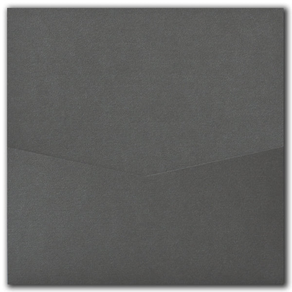 Steel Gray Metallic Pocket Invitation Card, 6 1/4 Denali