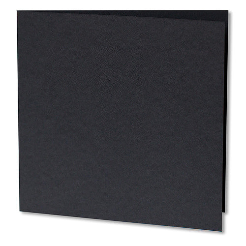 "Black Solid Invitation Card, Sq 6 1/4"" Folded - Paperandmore.com"