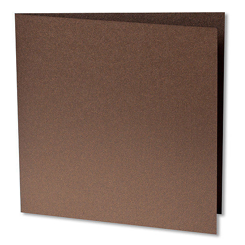 "Bronze Brown Metallic Invitation Card, Sq 6 1/4"" Folded"