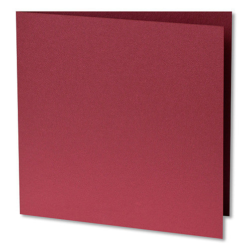 "Crimson Red Metallic Invitation Card, Sq 6 1/4"" Folded - Paperandmore.com"