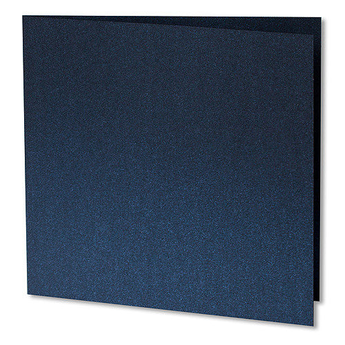 "Dark Blue Metallic Invitation Card, Sq 6 1/4"" Folded - Paperandmore.com"