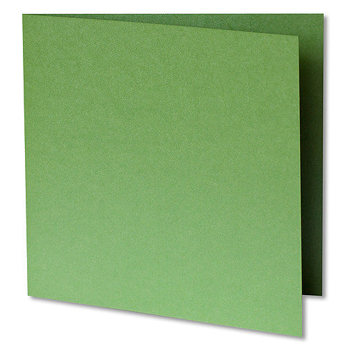 "Green Fairway Metallic Invitation Card, Sq 6 1/4"" Folded"