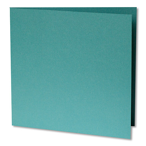 "Aqua Lagoon Metallic Invitation Card, Sq 6 1/4"" Folded - Paperandmore.com"