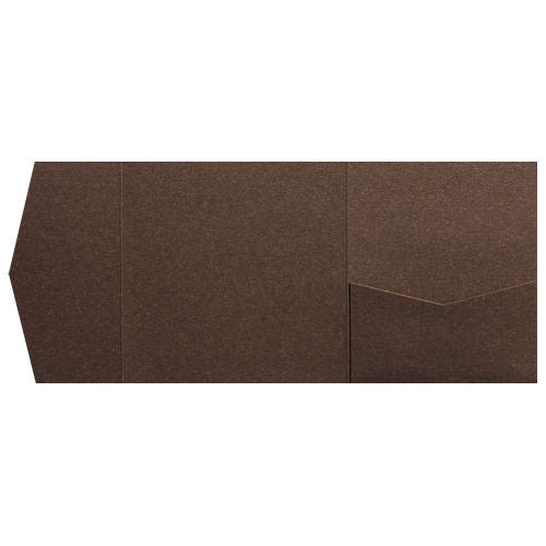 Bronze Brown Metallic Pocket Invitation Card, 6 1/4 Himalaya - Paperandmore.com