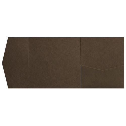 Chocolate Brown Solid Pocket Invitation Card, 6 1/4 Himalaya - Paperandmore.com