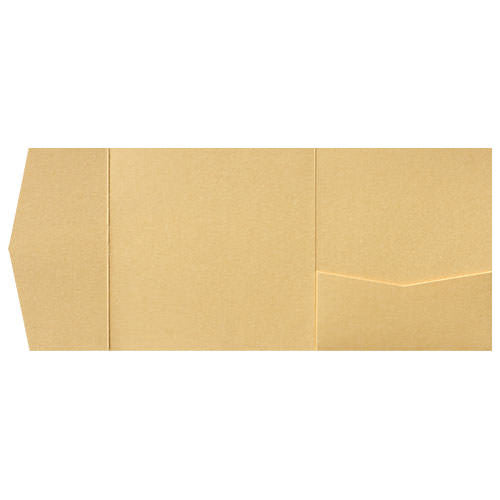 Gold Metallic Pocket Invitation Card, 6 1/4 Himalaya - Paperandmore.com