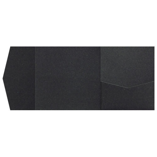 Onyx Black Metallic Pocket Invitation Card, 6 1/4 Himalaya - Paperandmore.com