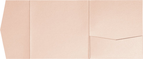 Peach (Coral) Metallic Pocket Invitation Card, 6 1/4 Himalaya