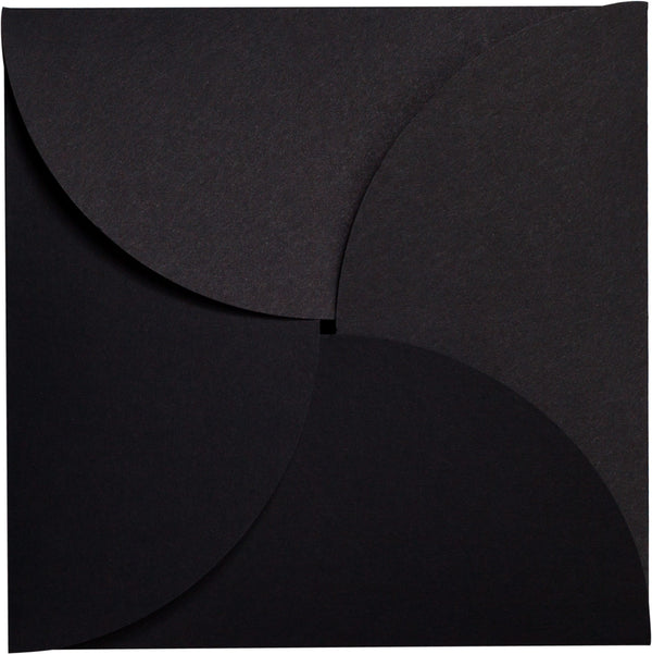 Black Solid Petal Card 100 lb, Square 6 1/4