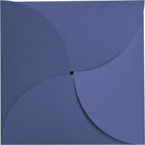 Blueprint Blue Metallic Petal Cards 111 lb, Square 6 1/4