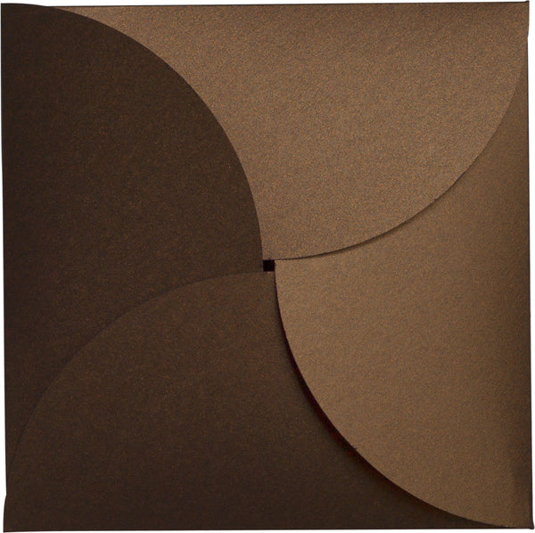 Bronze Brown Metallic Petal Cards 105 lb, Square 6 1/4
