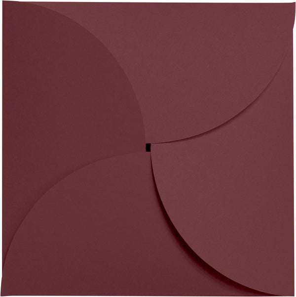 Burgundy Solid Petal Card 80 lb, Square 6 1/4