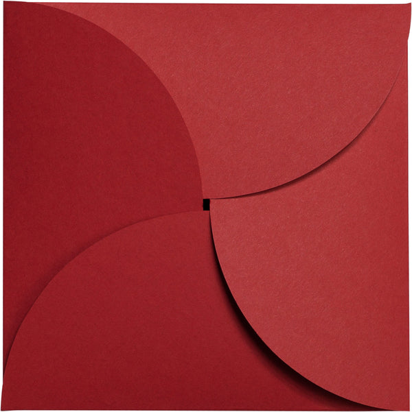 Cherry Red Solid Petal Card 100 lb, Square 6 1/4