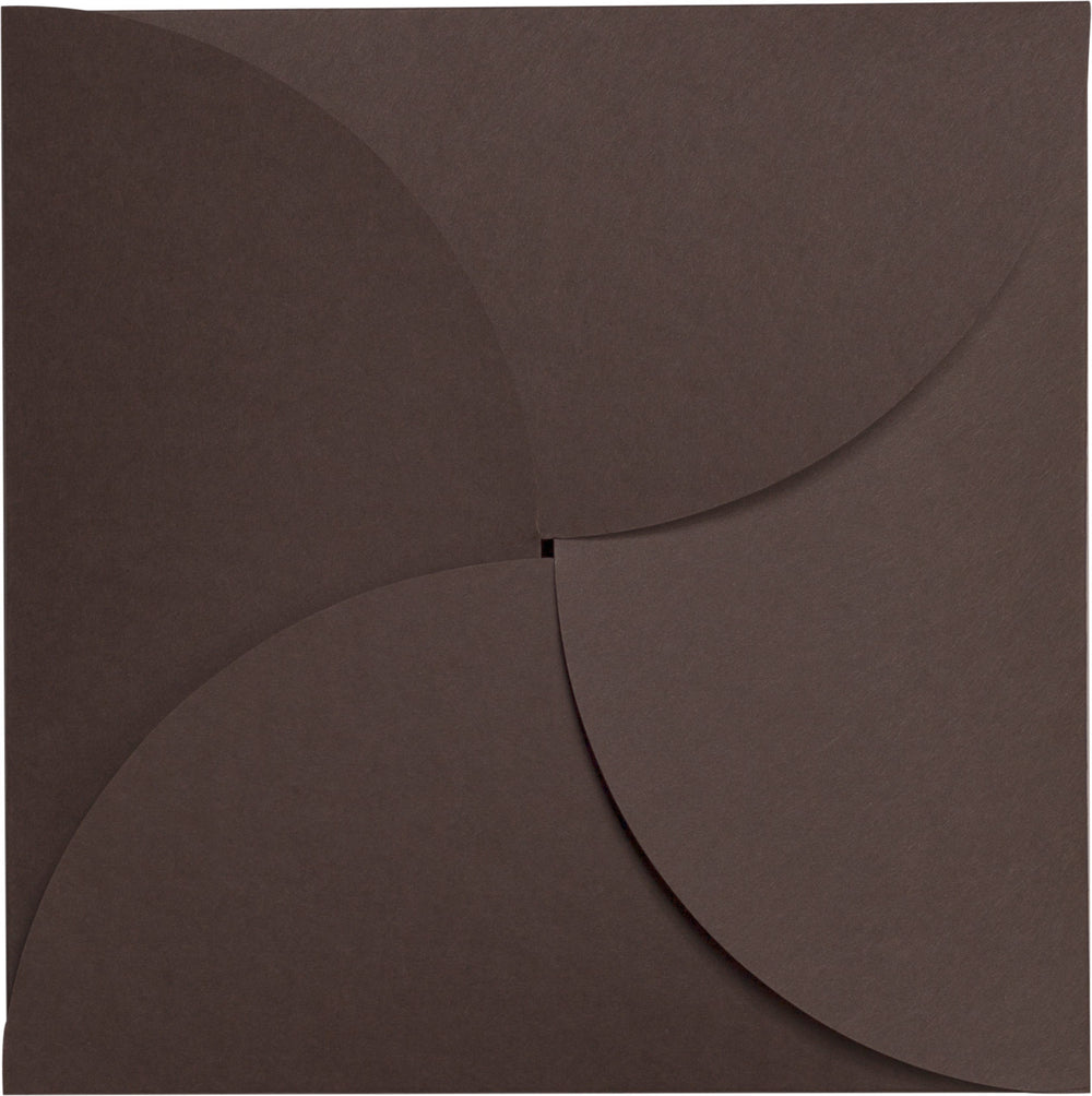 Chocolate Brown Solid Petal Card 100#, Square 6 1/4""