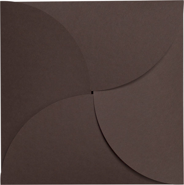 Chocolate Brown Solid Petal Card 100 lb, Square 6 1/4