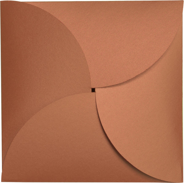 Copper Metallic Petal Cards 105#, Square 6 1/4