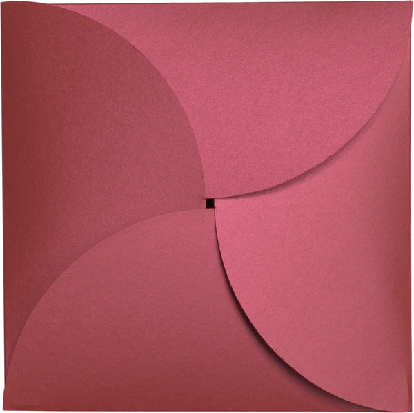 Crimson Red Metallic Petal Cards 105#, Square 6 1/4