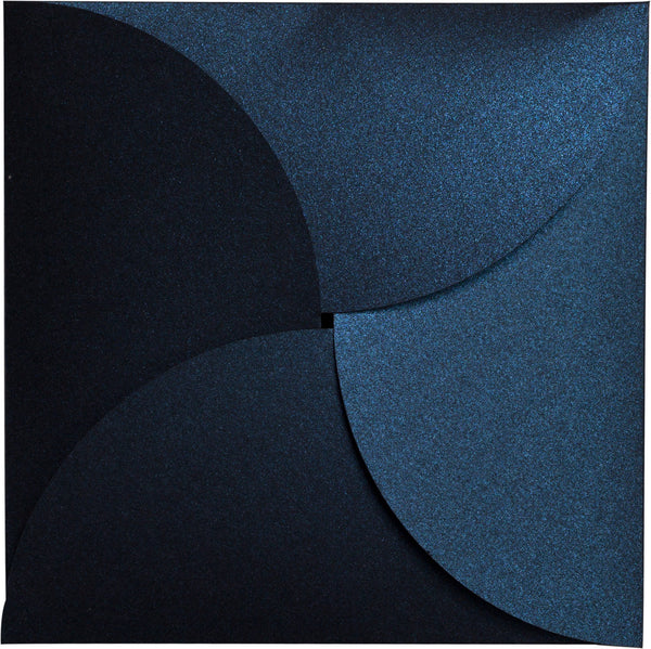 Dark Blue Metallic Petal Cards 105 lb, Square 6 1/4