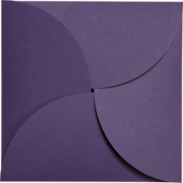 Dark Purple Solid Petal Card 80 lb, Square 6 1/4