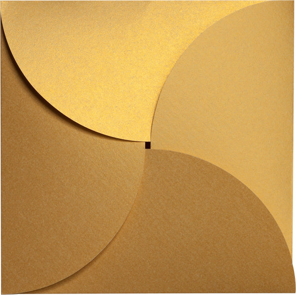 Gold Metallic Petal Cards 105 lb, Square 6 1/4
