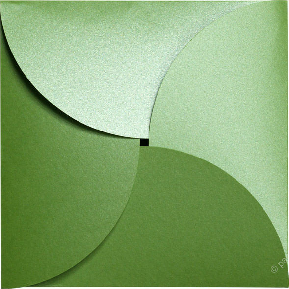 "Green Fairway Metallic Petal Cards 105#, Square 6 1/4"" - Paperandmore.com"