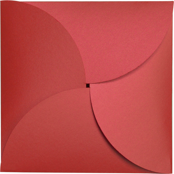 Jupiter Red Metallic Petal Cards 105#, Square 6 1/4
