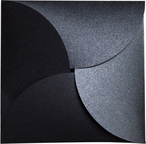 Onyx Black Metallic Petal Cards 105#, Square 6 1/4