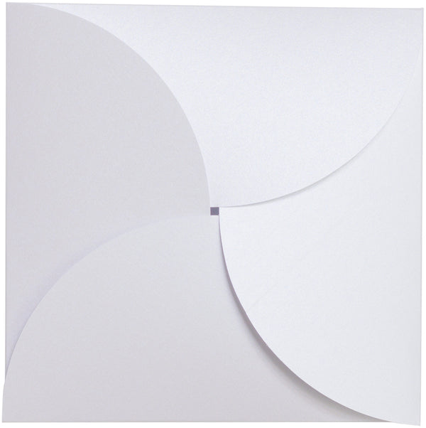 Pearl White Metallic Petal Card 107 lb, Square 6 1/4