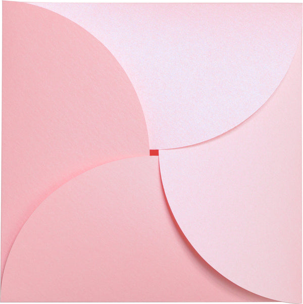 Rose Pink Metallic Petal Cards 105#, Square 6 1/4
