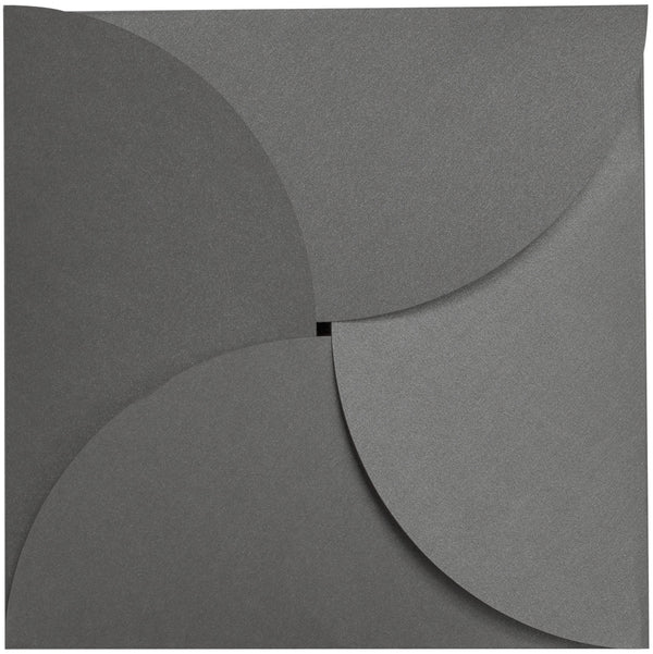 Steel Gray Metallic Petal Cards 105 lb, Square 6 1/4