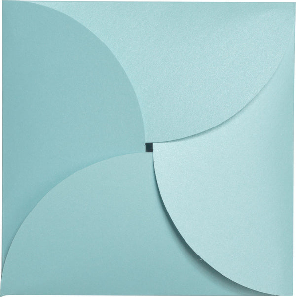 Topaz Blue Metallic Petal Cards 105 lb, Square 6 1/4