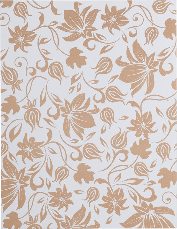 "Brown Spring Bloom on Classic White Solid 100#, 8 1/2"" x 11"" - Paperandmore.com"