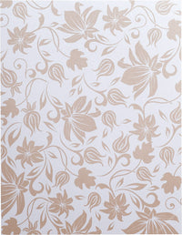 "Brown Spring Bloom on Pearl White Metallic 107#, 8 1/2"" x 11"""