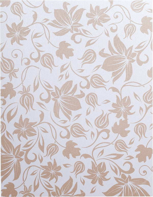 "Brown Spring Bloom on Pearl White Metallic 107#, 8 1/2"" x 11"" - Paperandmore.com"