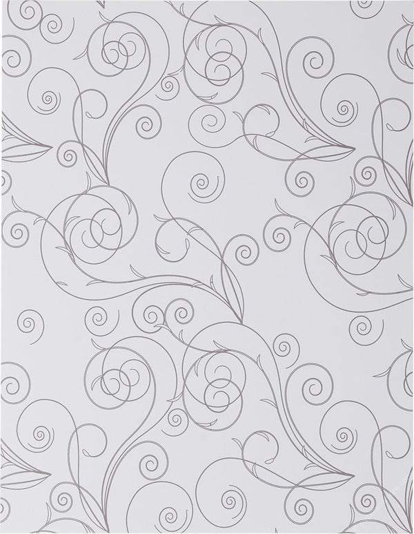 "Gray Simple Swirl on Classic White Solid Paper 80# Text, 8 1/2"" x 11"" - Paperandmore.com"