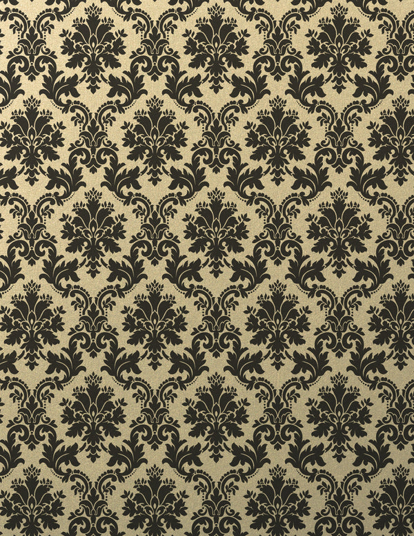 Black Brocade on Gold Leaf Metallic Card Stock 92 lb, 8 1/2