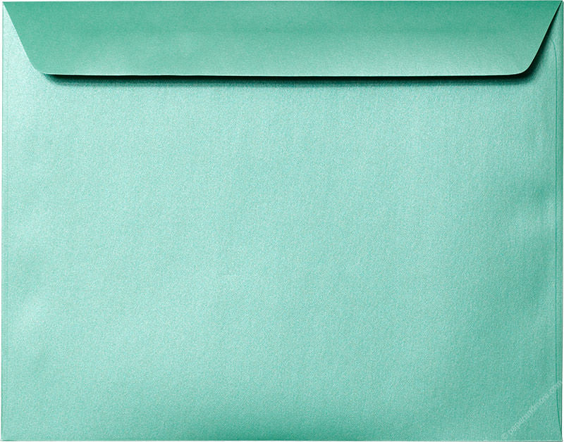 "9"" x 11 1/2"" Booklet Aqua Lagoon Metallic Envelopes - Paperandmore.com"