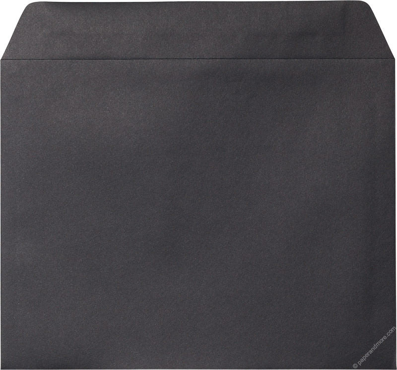 "9"" x 11 1/2"" Booklet Black Solid Envelopes - Paperandmore.com"