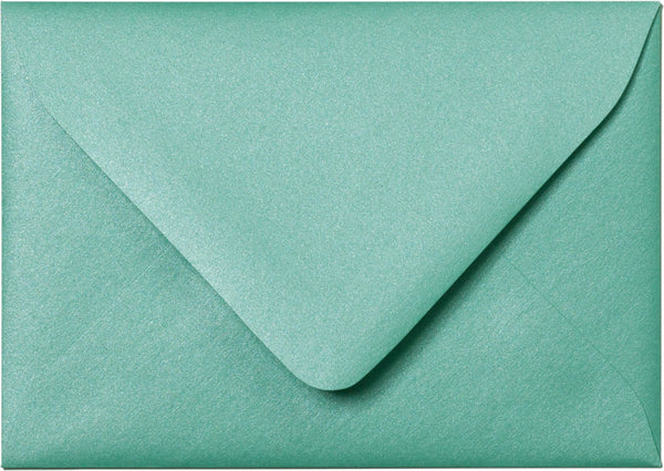 A-1 (4 Bar) Aqua Lagoon Metallic Euro Flap Envelopes (3 5/8
