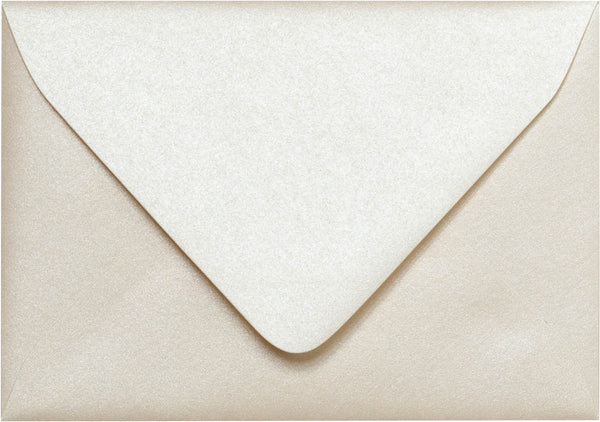 "A-1 (4 Bar) Champagne Cream Metallic Euro Flap Envelopes (3 5/8"" x 5 1/8"") - Paperandmore.com"