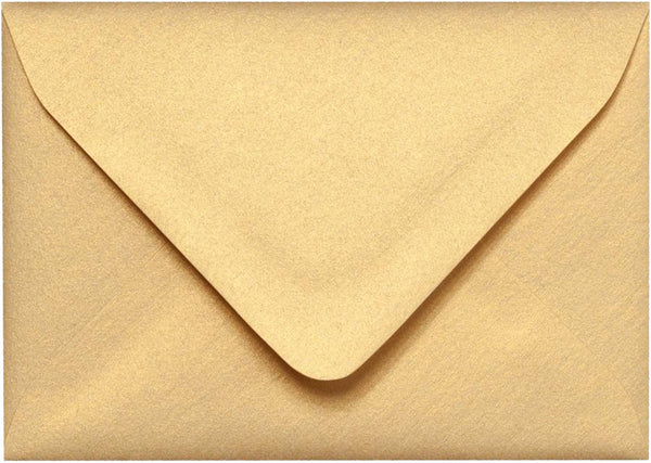 "A-1 (RSVP) Gold Metallic Euro Flap Envelopes (3 5/8"" x 5 1/8"") - Paperandmore.com"